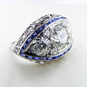 Hand Made Art Deco Diamond and Sapphire Ring