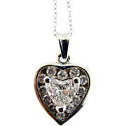 Vintage Heart-Shaped Diamond and White Gold Pendant