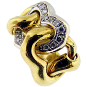 Vintage 18KT Yellow Gold Articulated Diamond Heart Ring