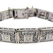 Art Deco Filigree Diamond Bracelet