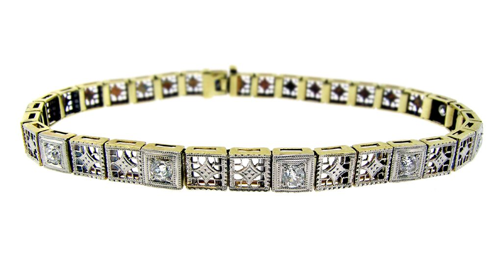 Art Deco Gold and Diamond Bracelet