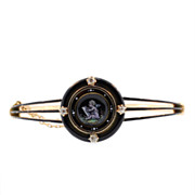 Antique Yellow Gold Diamond and Enamel Bangle