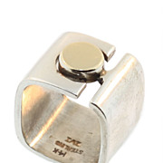 Modernist Sterling and 14KT Gold Ring