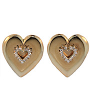 Vintage Diamond and Gold Heart Earrings