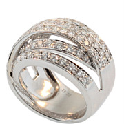 Vintage Diamond and White Gold Crossover Ring