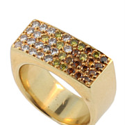 Vintage 18KT Yellow Gold, White and Fancy Coloured Diamond Ring