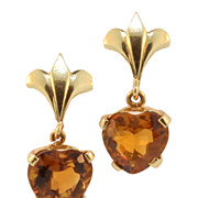 Vintage Hand Made 14KT and Citrine Pierce Dangling Earrings