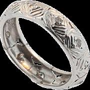 Art Deco Hand Made Platinum and Diamond Wedding Band