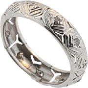 Art Deco Hand Made Platinum and Diamond Wedding Band