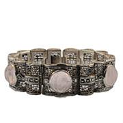 Vintage Filigree Silver and Quartz Bracelet