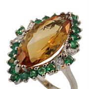 Unique Vintage 14KT White Gold Diamond, Emerald and Citrine Ring