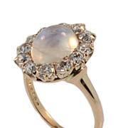 Antique 18 KT Moonstone and Diamond Ring