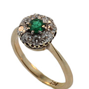 Antique Yellow Gold Diamond and Emerald Ring