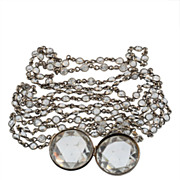 Art Deco Sterling and Crystal Watch Chain with Locket