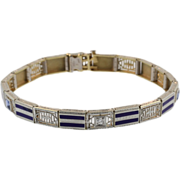 Art Deco Platinum, Gold, Diamond and Enamel Bracelet