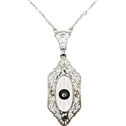 Art Deco Rock Crystal Filigree Pendant