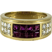 Vintage Cartier Invisibly Set Ruby Diamond Gold Band Ring