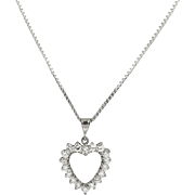 Vintage 18 kt White Gold .60 ct. Heart