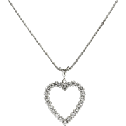 Vintage 14 kt White Gold and Diamond Heart Necklace