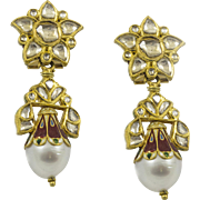Vintage Hand Made 18 kt Diamond and Pearl Earrings