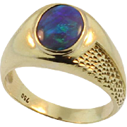 Vintage Black Opal Men's Ring