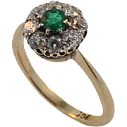 Edwardian Yellow Gold Diamond and Emerald Ring