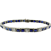 Art Deco Sapphire and Diamond Line Bracelet