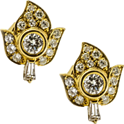 Vibrant Vintage 18k Yellow Gold and Diamond Earrings