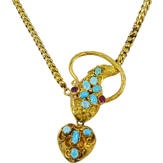 Antique Turquoise Ruby Gold Snake Necklace with Hanging Locket