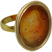 Finely Carved Antique Carnelian Intaglio Gold Ring