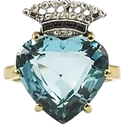 Vintage Crown Aquamarine Ring