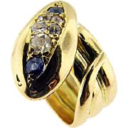 Vintage Yellow Gold Diamond and Sapphire Snake Ring