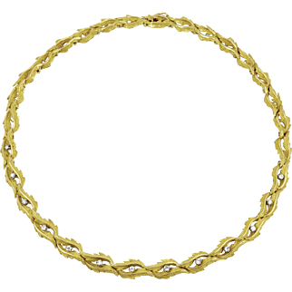 Vintage French 18k Diamond Foliat Necklace