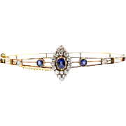 Edwardian Gold and Sapphire Bangle