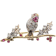 Vintage Hand Made Little Bird and Berries Brooch