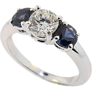 Vintage Classic 3 Stone Sapphire and Diamond Ring Set in Platinum