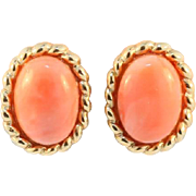 Vintage Yellow Gold Coral Earrings