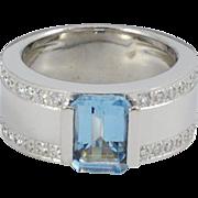 Vintage Modernist White Gold Diamond and Aquamarine Ring