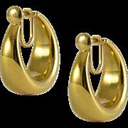 Yellow Gold Screw Back Hoop Earrings