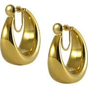 Yellow Gold Screw Back Hoop Earrings