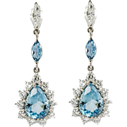 Vintage Diamond Aquamarine White Gold Drop Earrings