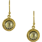 Custom Made 22kt Yellow Gold and Lemon Quartz Earrings
