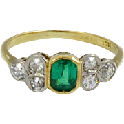 Antique Diamond and Emerald Ring