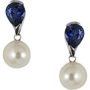 White Gold Sapphire and Pearl Earrings