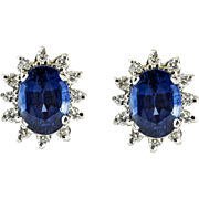 Vintage White Gold Diamond and Sapphire Stud Earrings