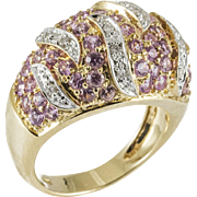 Vintage Pink Sapphire Diamond Yellow Gold Dome Ring