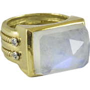 Vintage Faceted Custom Made Moonstone Ring