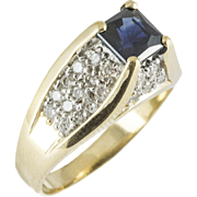 Vintage 14KT Diamond and Sapphire Ring