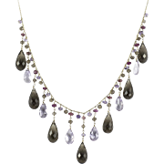 Vintage Festive Amethyst Tourmaline and Smokey Quartz Necklace