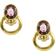 Vintage 18K Gold Custom Made Tourmaline Earrings